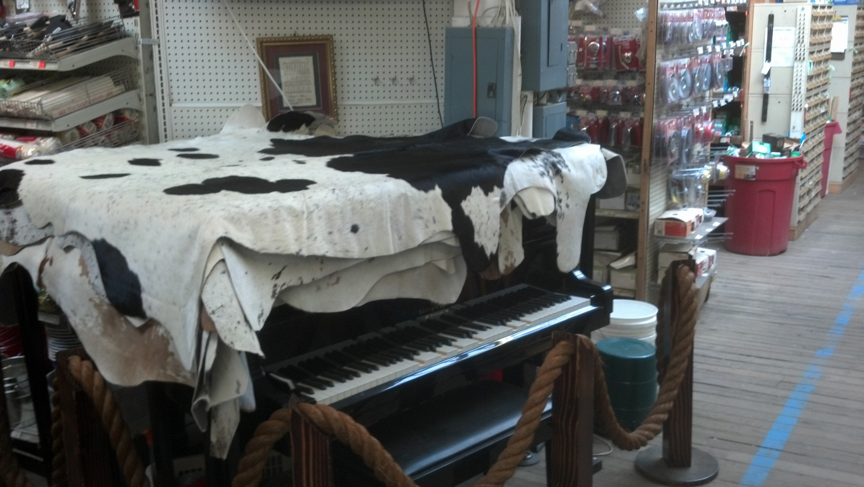 Cowhide rug over piano