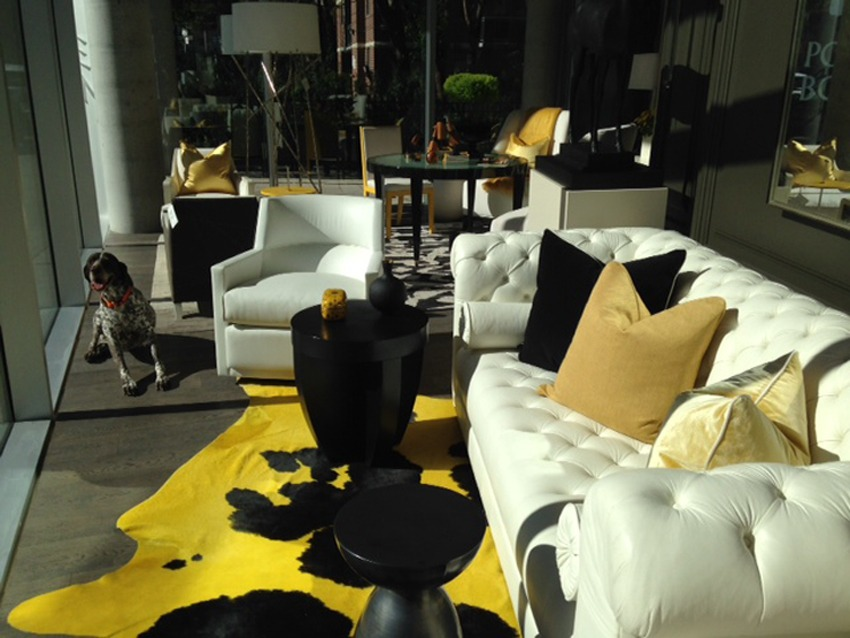 Bright cowhide rug colors make a bold statement