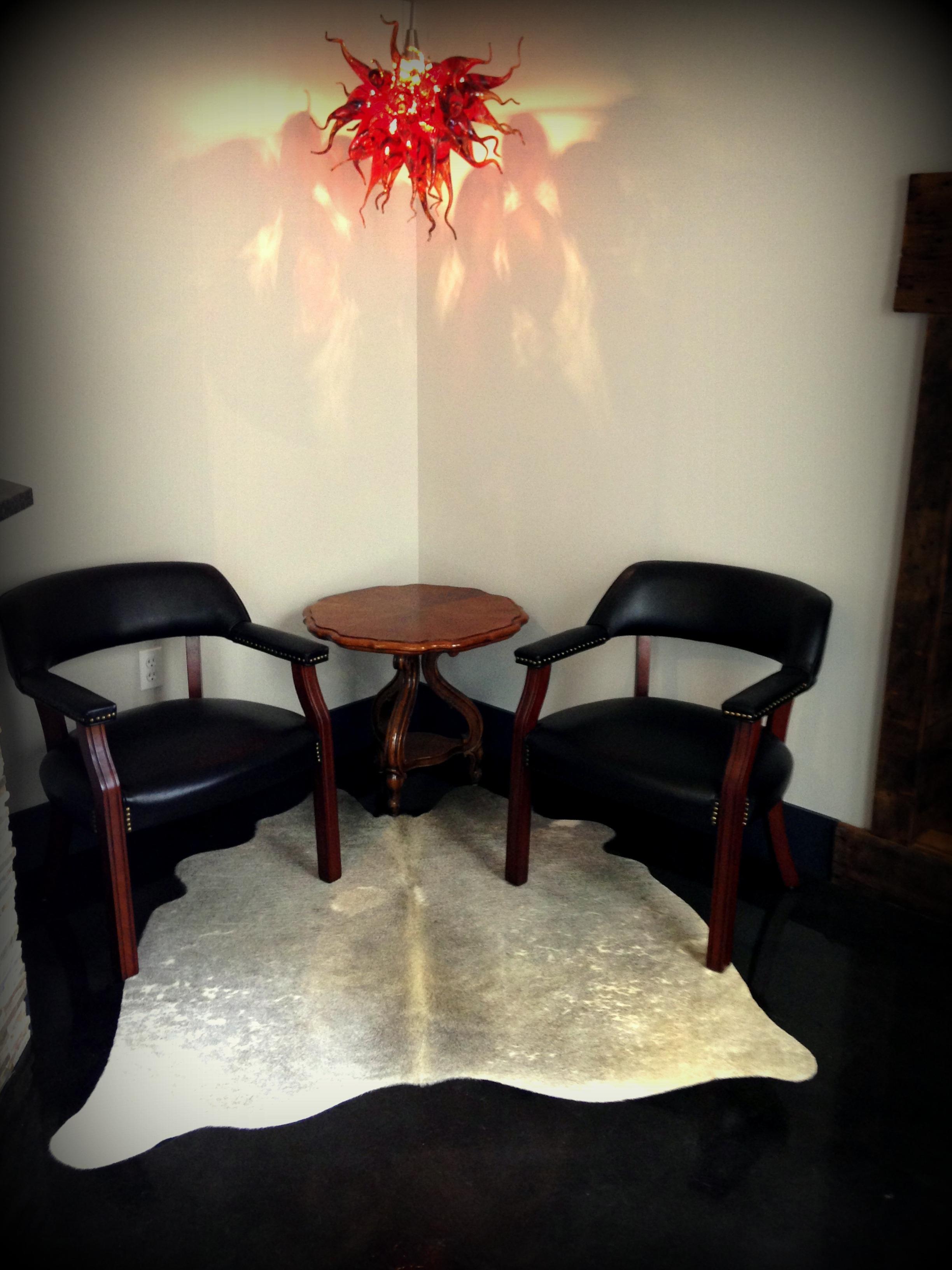 Cowhide rug in corner