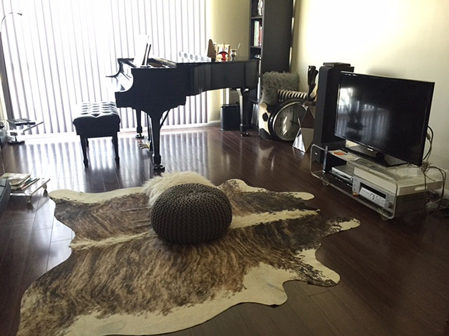 Cowhide rug in front of TV