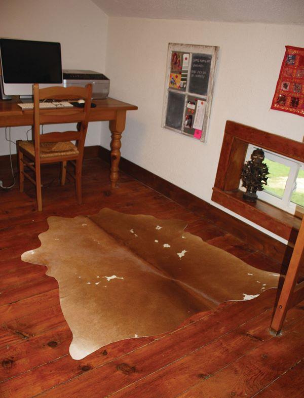 Cowhide rug near desk