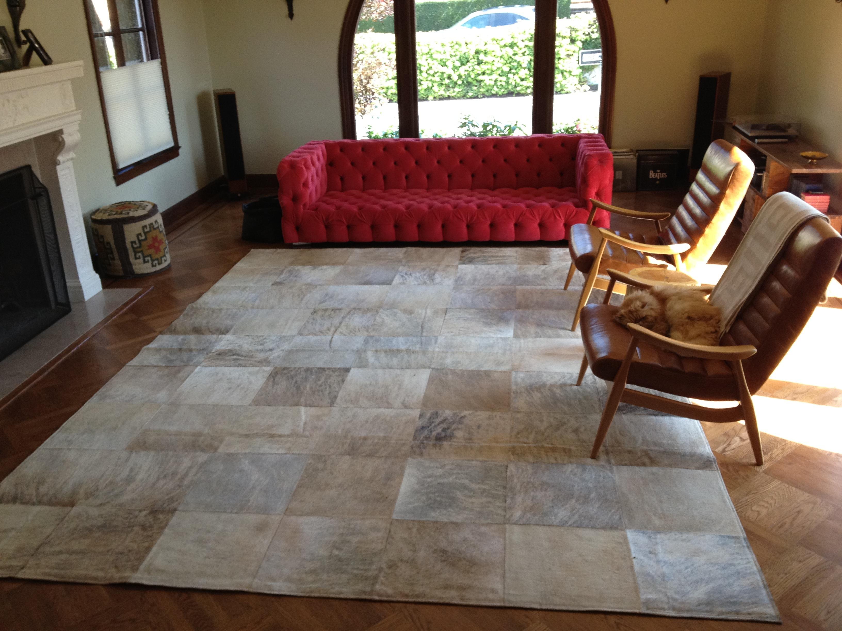 Checker board cowhide rug