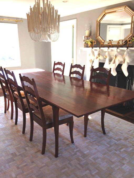 Cowhide rug with dining room table