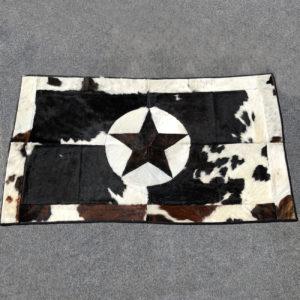 laced cowhide rug